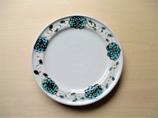 九谷焼 双鳩窯 色絵小皿(ブルー)