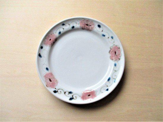 九谷焼 双鳩窯 色絵小皿(ピンク)