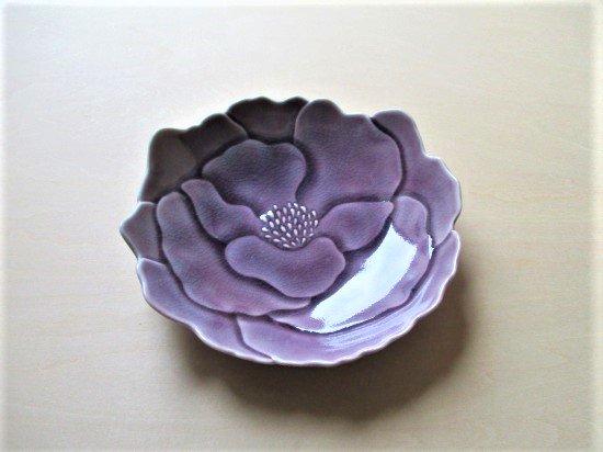 瀬戸焼 ボタン皿 (ぶどう色)