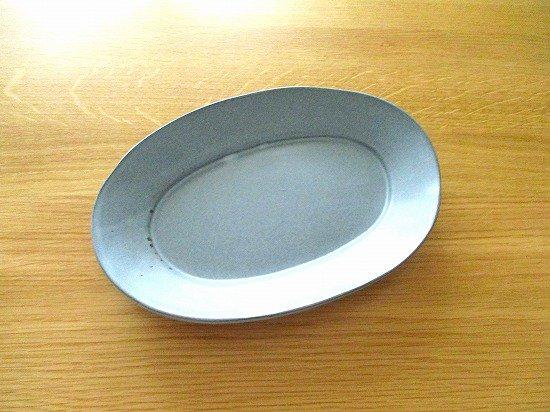 長浜由起子(やぶから房)作 オーバル皿(ブルーグレー)