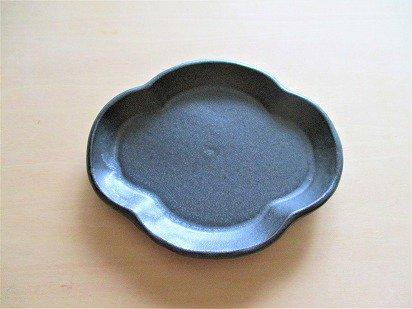 山本たろう(魚雲窯) 木瓜豆皿 (陶器・黒)
