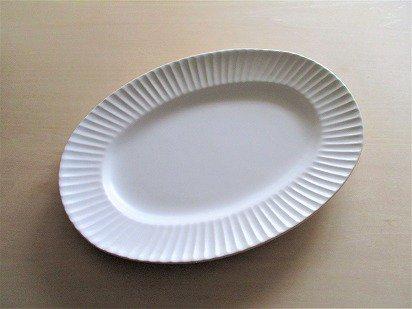 作山窯 Stripe オーバルプレート (ホワイト)