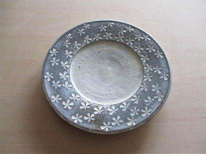 三島柄(花) リム皿(7寸)