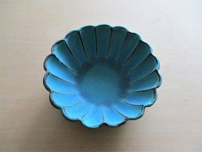 【益子焼】わかさま陶芸  シャビーターコイズ リンカ小鉢