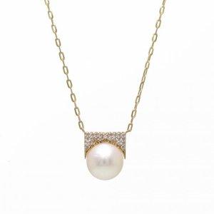 K18YG真珠ダイヤモンドネックレス