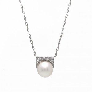 K18WG真珠ダイヤモンドネックレス