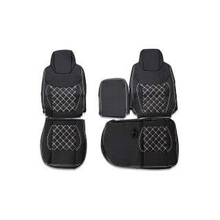 シートカバー いすゞ 07 エルフ 標準用 ホワイトキルト 運転席 助手席 1台分 セット  ZERO