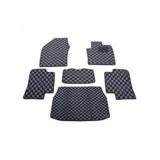 フロアマット C-HR NGX50 CHR ラゲッジマット ガソリン車用 ブラック グレーチェック柄 6点セット  ZERO