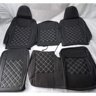 200系 ハイエース DX フロント シートカバー 3人用 PVCレザー ホワイトステッチTOW-1