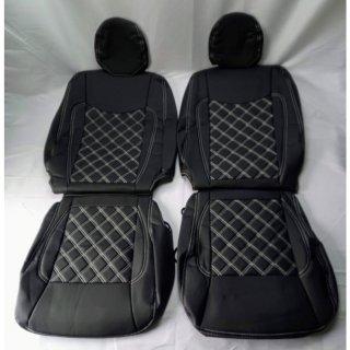 200系 ハイエース S-GL フロント シートカバー 2人用 運転席 助手席 PVCレザー ホワイトステッチTOW-1