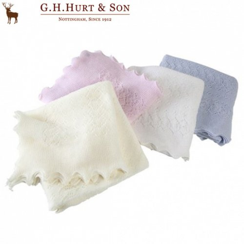 G.H.HURT&SON ジーエイチ ハートアンドサン  ソフトレースショール クリーム ピンク ホワイト ブルー