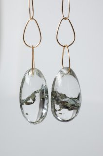 Pyrite in Quartz Earrings K18