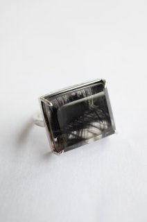 Brookite in Quartz Ring Pt900
