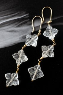 Flower Carving Quarz Earrings  K10