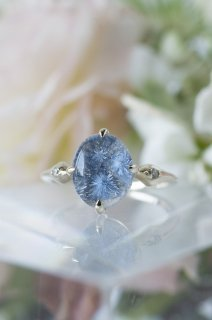 Dumortierite in Quartz Ring - 003