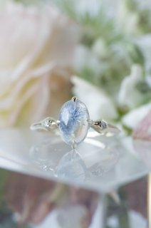 Dumortierite in Quartz Ring - 004