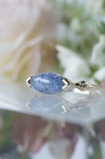 Dumortierite in Quartz Ring - 005