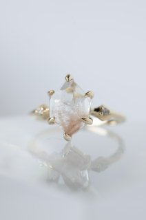 Pink Dumortierite in Quartz Ring - 001