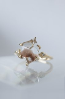 Pink Dumortierite in Quartz Ring - 002