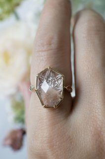 甲州貴石切子 Pink Dumortierite in Quartz Ring - 005