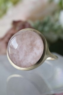 Sericite in Rose Quartz Ring - 002