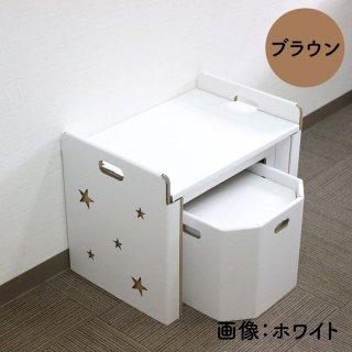 日本紙器 段ボール机・椅子セット (ホワイト/ブラウン)