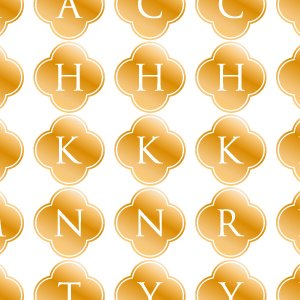 ALPHABET MARK CLOVER (アルファベットマーク クローバー・メタリックゴールド)