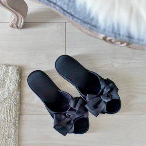 リボンヒールスリッパ�(ブラック)/フォーマル お客様用 サロン 母の日 参観日