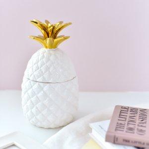 パイナップル型ポット / インテリア 置物 お菓子入れ 小物 アクセサリー ゴールド