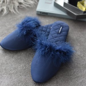 ファー付きルームシューズ(ブルー)/スリッパ パンプス風 室内履き