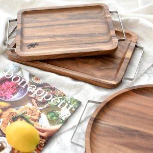 メタルハンドルアカシアトレイ/木製 トレー おぼん 長方形 円形
