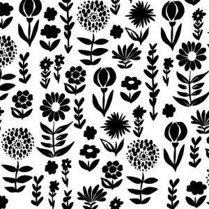 HOKUOU FLOWER(ホクオウフラワー・ブラック)/転写紙 北欧 花柄 モノトーン おしゃれ