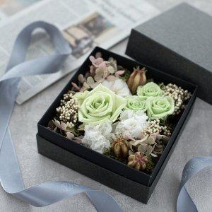 プリザーブドフラワーボックス(M)(グリーン)/ギフト BD 女性 誕生日