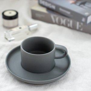 スモーキーカラーカップ&ソーサー(グレー)/食器 おしゃれ コーヒーカップ