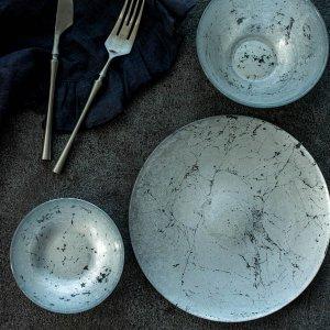 ターキーガラスプレート(シルバー)/食器 皿 おしゃれ 華やか