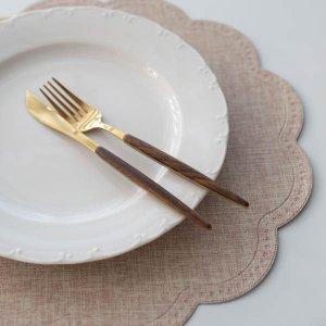ラウンドクラウドランチョンマット(ブラウンイエロー)/テーブルウェア おしゃれ