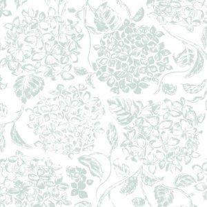 FABRIC  HYDRANGEA(ファブリックハイドランジア・オールドグリーン)/転写紙 紫陽花 アジサイ 花柄