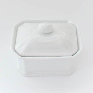 テリーヌボックス/アクセサリー入れ ボックス 蓋つき 白磁 ポーセリンアート