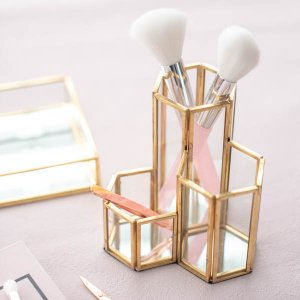 ツールスタンド(ゴールドミラー)/  鏡  収納 おしゃれ ペンたて メイク道具