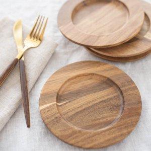 ウッドミニリムプレート/カフェ風 ナチュラル ラウンド 木製 食器