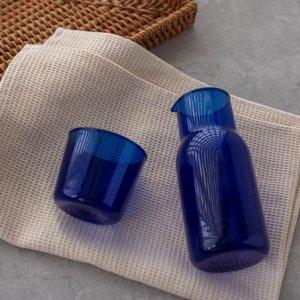 ガラスカップ&ピッチャーセット(ブルー)/ おしゃれ 水差し ボトル コップ