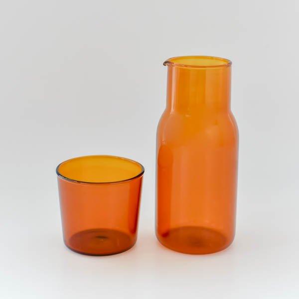ガラスカップ&ピッチャーセット(ブラウン)