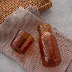 ガラスカップ&ピッチャーセット(ブラウン)/ おしゃれ 水差し ボトル コップ