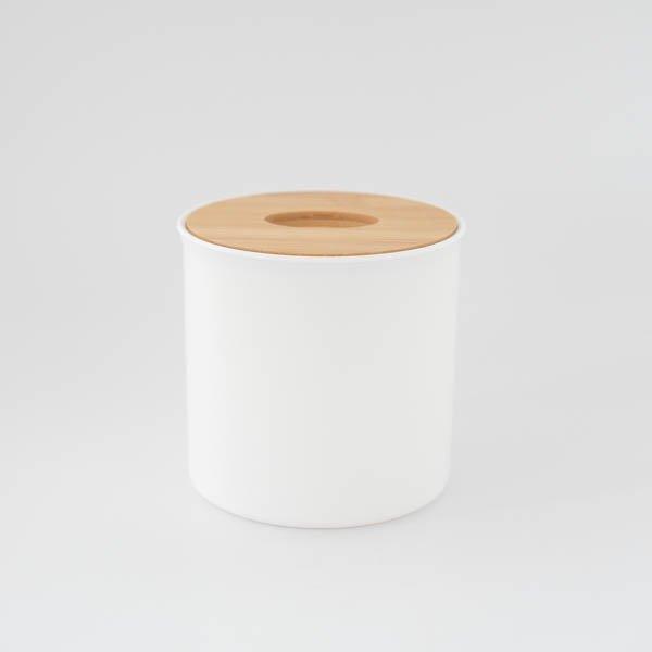 ラウンドティッシュボックス(ホワイト)