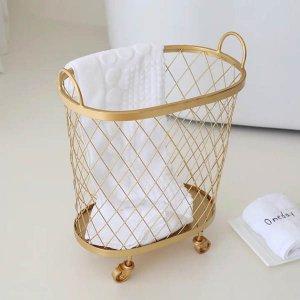ランドリーバスケット(ゴールド)/洗濯 カゴ おしゃれ キャスター付き 収納