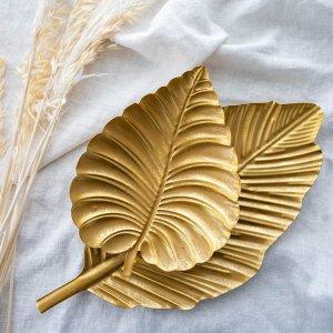 リーフトレイ(ゴールド)/ トレー  アンティーク調 ヴィンテージ風  南国風 おしゃれ ディスプレイ