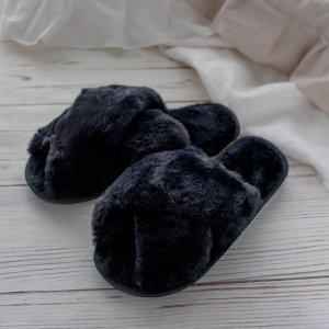 クロスファールームシューズ(ブラック)/スリッパ フワフワ サンダル  韓国スタイル リラックス 可愛い