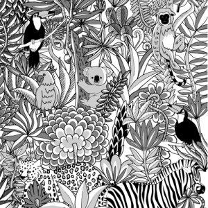 MONOTONE JUNGLE(モノトーン ジャングル)/転写紙 かわいい モノクロ 白黒 動物