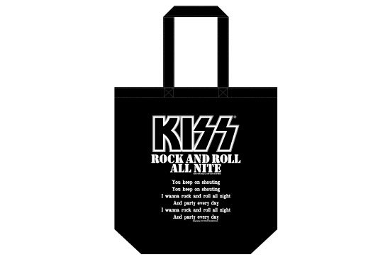 KISS 地獄の御言葉トートバッグ<br> 「ROCK AND ROLL ALL NITE」 <img class='new_mark_img2' src='https://img.shop-pro.jp/img/new/icons15.gif' style='border:none;display:inline;margin:0px;padding:0px;width:auto;' />