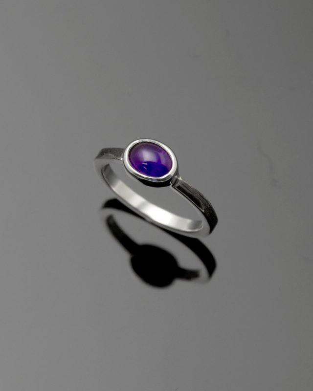 2019 SILVER PERSPIRATION<br>Amethyst silver ring LLR-007am<br>